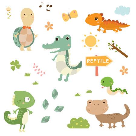 かわいい爬虫類のセット  イラスト・ベクター素材