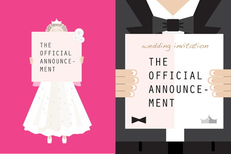 Wedding couple holding memo board Illustration