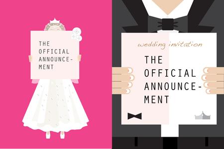 Wedding couple holding memo board Ilustrace