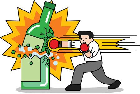 Man breaking alcoholic bottle Illustration