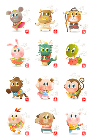 12 중국어 조디악 동물의 집합