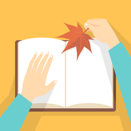 Hand holding maple leaf and book 向量圖像