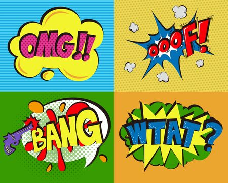 Set of pop art expressions on a colored background
