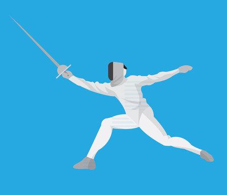 Man doing fencing flat design Illustration