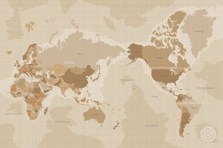 Brown vintage map of the world