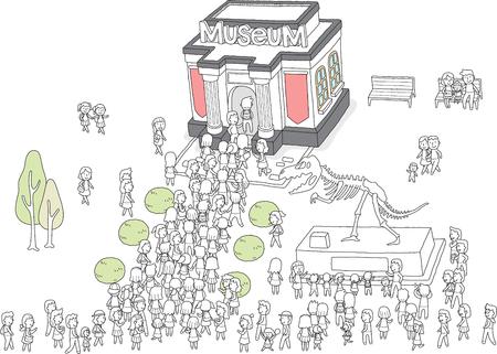 박물관은 사람들로 붐비고있다.