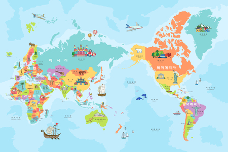 Map of the world with tour attraction Ilustrace