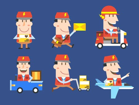 Set of various delivery man icon