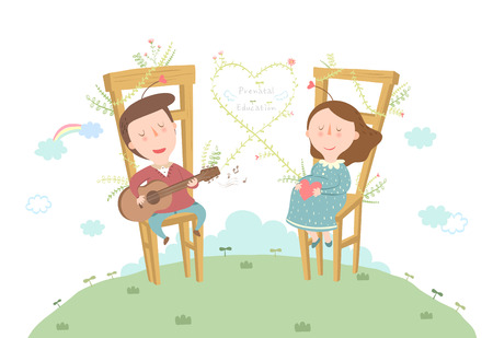 Pregnant couple listening music