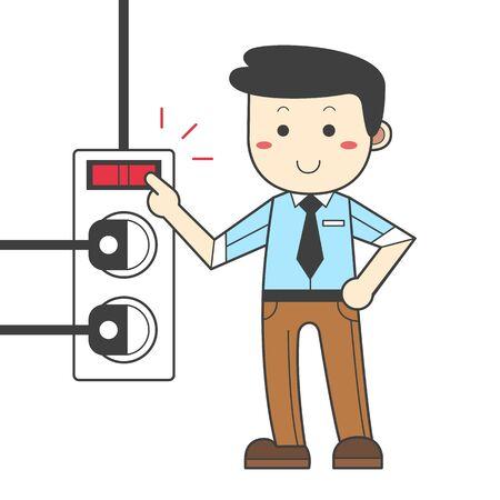 Man turning off the power - saving energy Stok Fotoğraf - 90531890