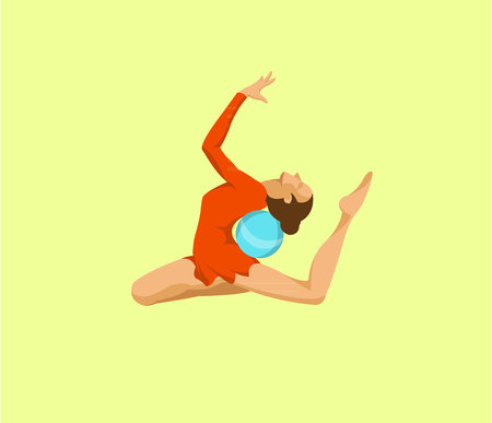 Woman performing ball gymnastics flat design 向量圖像