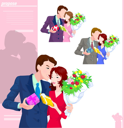 Various color of propose couple
