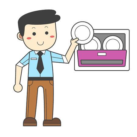 Mann benutzt nur, wenn die Spülmaschine voll ist Standard-Bild - 90532048