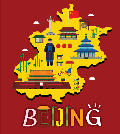 Beijing map with tourist attraction
