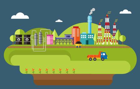자동차 석탄 산업 공장 일러스트