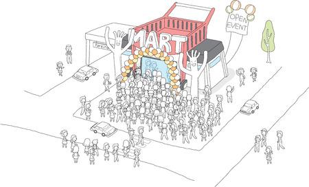 오픈 이벤트에서 사람들로 붐비는 시장