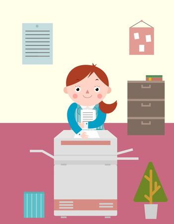 Business woman working with copy machine