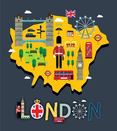 London map with tourist attraction Reklamní fotografie - 90569278