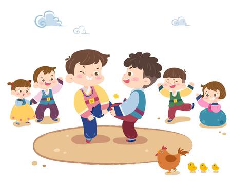 Children playing Korea traditional game