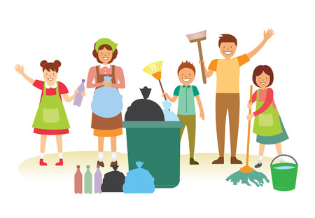 Happy Family cleaning together