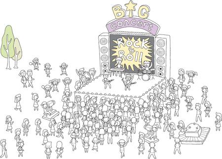 Concerto está lotado de pessoas Ilustración de vector