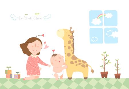 Mãe, cuidando, de, criança infantil