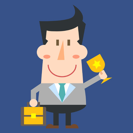 Man with trophy on blue background Illustration