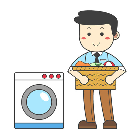Man doing the laundry at once 일러스트