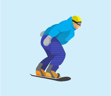 Man paardrijden snowboard plat ontwerp Stock Illustratie