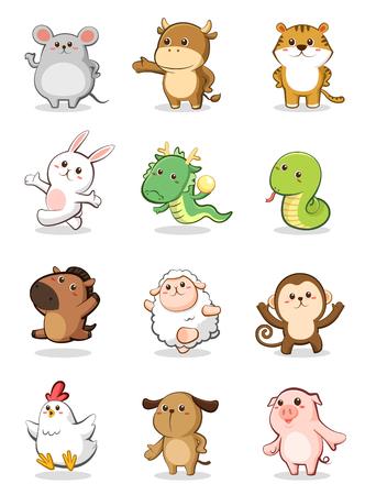 12 の中国の黄道帯動物のセット