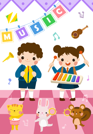 Boy and girl performing at school music festival