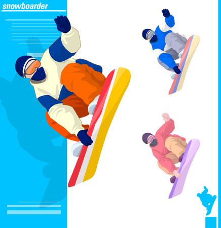 Verschillende kleuren van snowboarder Stock Illustratie