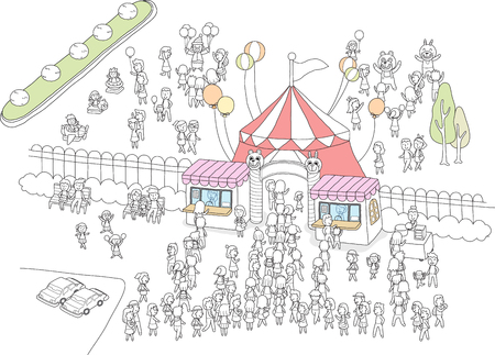 Amusement park is crowded with people