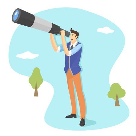 Homme utilisant un télescope Banque d'images - 90605352