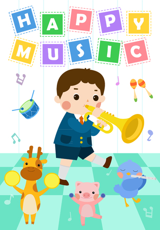 Boy performing at school music festival