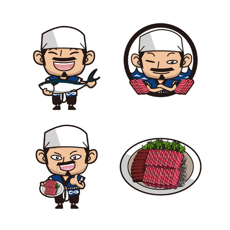 Japanese chef advertising sushi 일러스트