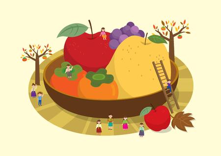 Chuseok - Fruit on plate Illustration
