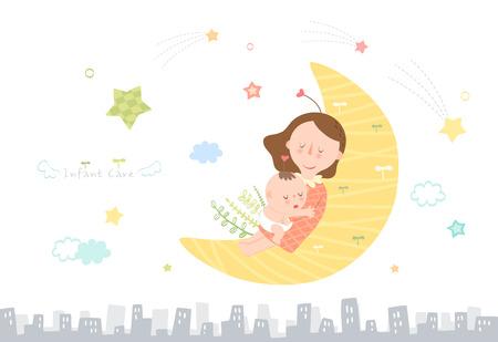 유아 아기 돌보는 어머니