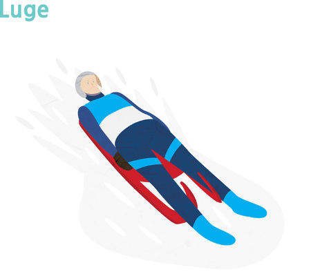 Young athlete in luge competition