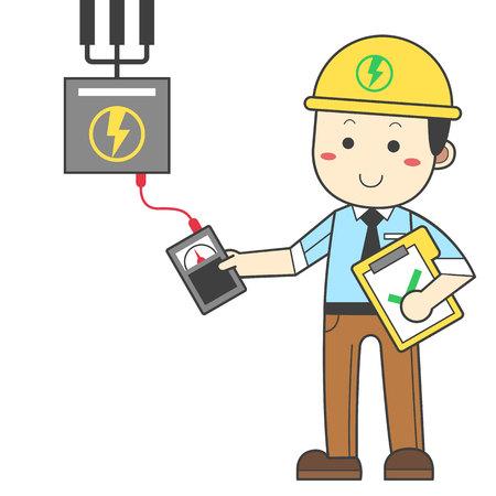 Ingenieur, der Elektrizitätsgerät überprüft