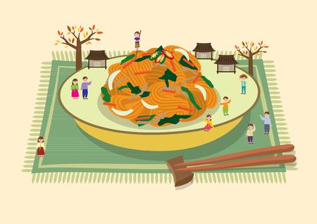 Chuseok - japchae on plate