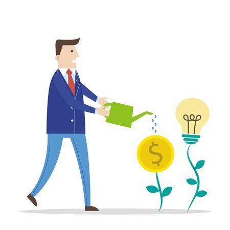 Zakenman het water geven geld en de boom van de ideebol Stock Illustratie
