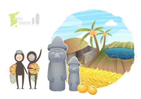 Tour attraction - Jeju Island Illustration