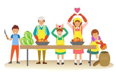 Happy Family making kimchi