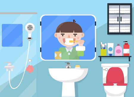Mirror - Man brushing teeth in bathroom Ilustrace
