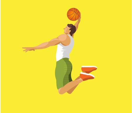 Man jumping with basketball flat design Illustration