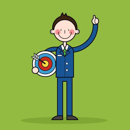 businessman with target Illustration