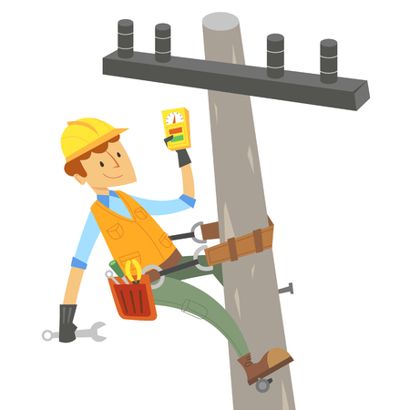 Electric engineer on telephone pole