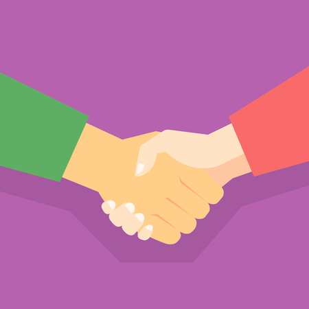 Shaking hands with business partner