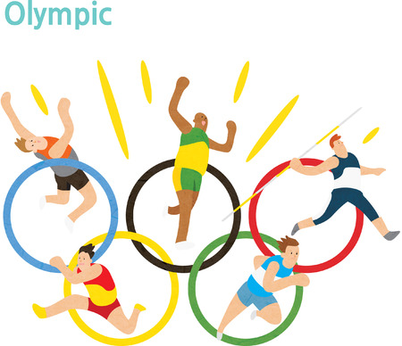 올림픽 로고 철사 운동 선수